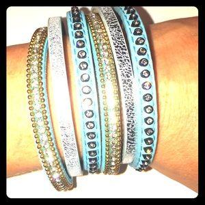 Jewelry - Multi Band Turquoise Bling Cuff Bangle Bracelet